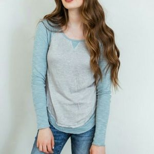 Free People Friday Feelin Long Sleeve Sky Blue Tee